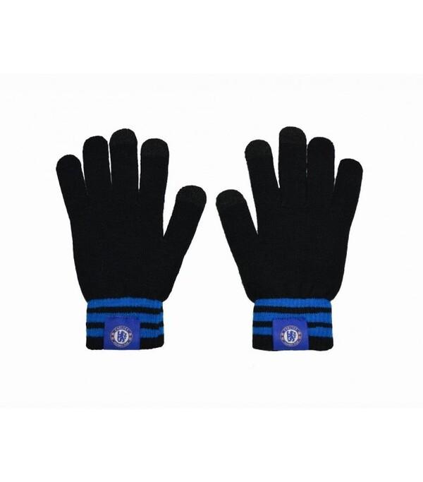 Теплые вязаные перчатки с эмблемой Челси